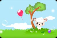Pink Balloon Flying Away Stationery, Backgrounds
