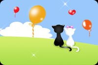 2 Cats Watching Balloons Fly Stationery, Backgrounds