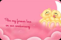 Anniversary email stationery. 2 Bears On Pink Clouds