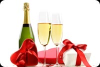 Anniversary email stationery. Champaigne And Red Chocolate Boxes