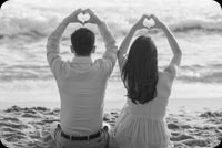 Anniversary email stationery. Black And White Couple Shot
