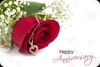 Happy Anniversary, Red Rose, Heart Necklace Stationery, Backgrounds