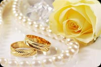 Pearl Necklace, Yellow Rose & Gold Rings Wedding Anniversary Stationery, Backgrounds