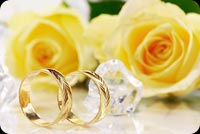 Yellow Roses, Gold Rings Happy Wedding Anniversary Stationery, Backgrounds