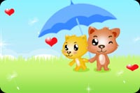 2 Cats Sharing An Umbrella Stationery, Backgrounds