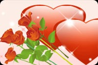 2 Hearts With Red Roses Stationery, Backgrounds