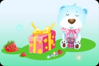 Birthday email stationery. Bear With Colorful Present