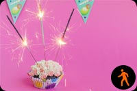 Animated Birthday Cupcake With Sparklers Stationery, Backgrounds