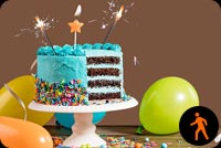 Animated Birthday Cake Balloons Candle & Sparklers Stationery, Backgrounds