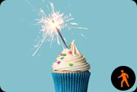 Animated Blue Cupcake With Sparkler Stationery, Backgrounds