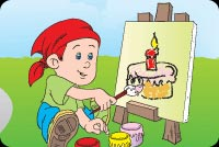 Boy Painting A Cake Stationery, Backgrounds