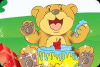 Delighted Bear Eating Cake Stationery, Backgrounds