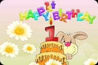 Happy Bunny Celebrating Birthday Stationery, Backgrounds
