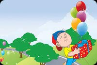 Birthday email stationery. Boy With 4 Balloons