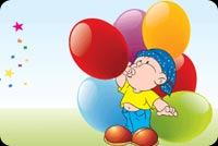 Boy Blowing Colorful Balloons Stationery, Backgrounds