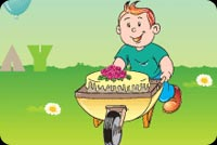 Birthday email stationery. Boy Rolling A Cake