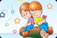 Boy And Girl Sharing A Log Stationery, Backgrounds