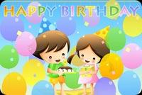 Boy And Girl With Colorful Balloons Stationery, Backgrounds