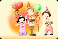 Friends, Smiles And Birthday Balloons Stationery, Backgrounds