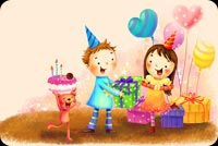 Birthday Girl With Balloons And Presents Stationery, Backgrounds