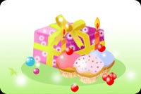 Birthday email stationery. Colorful Gifts And Cupcakes