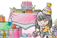 Happy Birthday Girl Stationery, Backgrounds