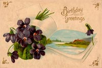 Vintage Birthday Greeting Card Stationery, Backgrounds