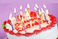 Birthday email stationery. Red & White Birthday Cake With Candles