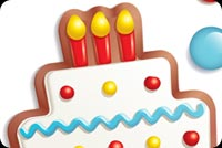 Birthday email stationery. Birthday Cake, Candies & Star