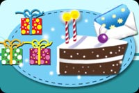3 Presents And A Cake Slice Stationery, Backgrounds