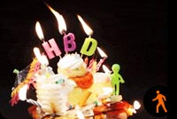 Birthday Cake Burning Candles Stationery, Backgrounds