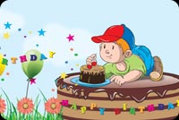 Birthday email stationery. Boy On Chocolate Cake
