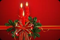 Christmas email stationery. Christmas Bow & Candles