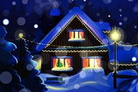 Snow House Christmas Night Stationery, Backgrounds