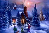 Snow House Kids & Snowman Stationery, Backgrounds