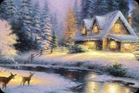 Deer & Christmas House Stationery, Backgrounds
