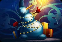 Snowman Merry Christmas & Happy New Year Stationery, Backgrounds