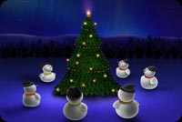 Christmas email stationery. Snowmen Merry Christmas Tree