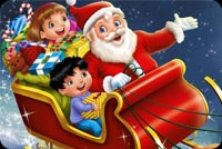 Kids Fly With Santa Claus Stationery, Backgrounds