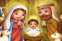 Cartoon Christmas Nativity Scene Stationery, Backgrounds