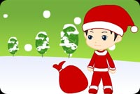 Christmas email stationery. Little Boy In Santa Costume