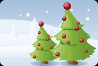Christmas email stationery. Decorated Christmas Pine Trees