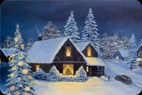 Christmas House Winter Season Stationery, Backgrounds