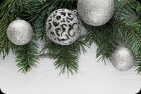 Silver Christmas Ornaments Stationery, Backgrounds