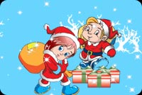Boy And Girl With Presents Stationery, Backgrounds