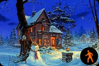 Animated Warm Christmas House Stationery, Backgrounds
