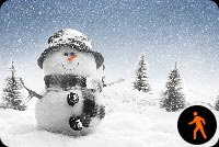 Animated Snowman With Snow Effect Stationery, Backgrounds