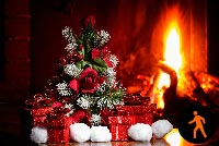 Animated Christmas Gifts Fireplace Stationery, Backgrounds