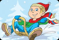 Boy Riding A Sleigh Stationery, Backgrounds
