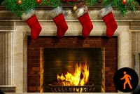 Animated Beautiful Christmas Fireplace Stationery, Backgrounds